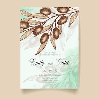 Cartão de convite de casamento, salve a data com fundo aquarela, azeitonas, folhas e galhos.