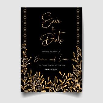 Cartão de convite de casamento, salve a data com moldura dourada, flores, folhas e galhos.