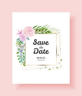 Cartão de convite de casamento, salve a data