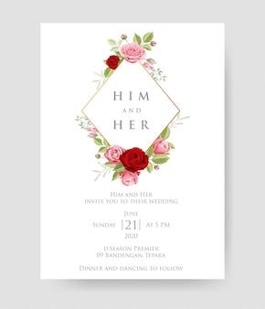 Cartão de convite de casamento simples com modelo floral e folhas.