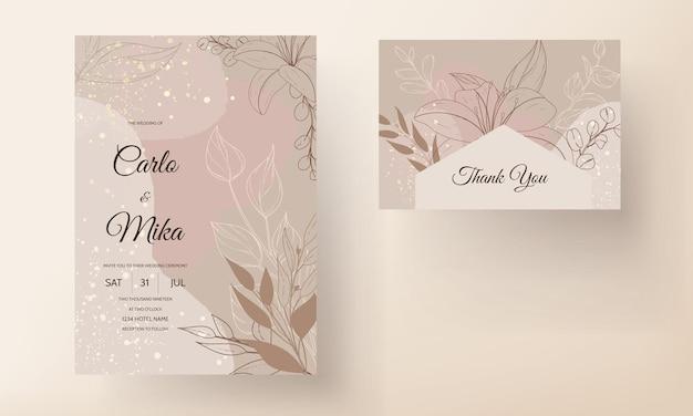 Cartão de convite de casamento simples e elegante floral