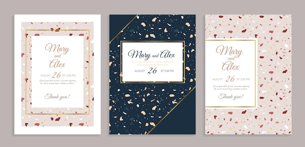 Cartão de convite de casamento terrazzo.