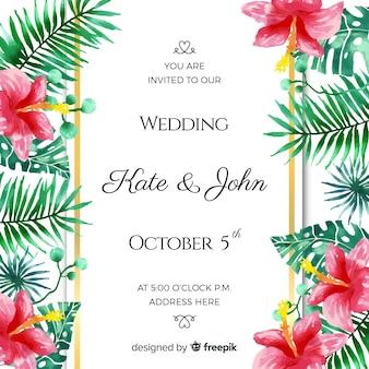 Cartão de convite de casamento tropical aquarela