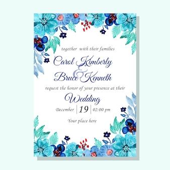Cartão de convite de casamento verde azul com flor aquarela