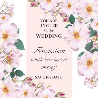 Cartão de convite de casamento vetor floral. flores lindas e coloridas. cores fúcsia e vermelha