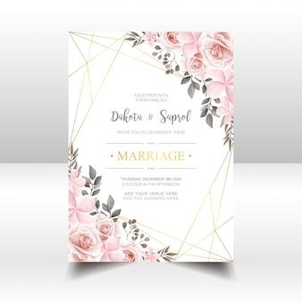 Cartão de convite de casamento vintage com aquarela floral e moldura dourada