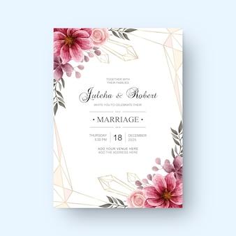 Cartão de convite de casamento vintage com decoração de flores em aquarela