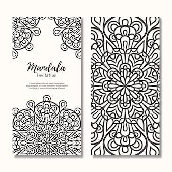 Cartão de convite de casamento vintage com desenho de mandala floral, modelo de convite de casamento de mandala
