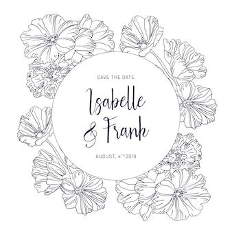Cartão de convite de casamento vintage com flores azuis