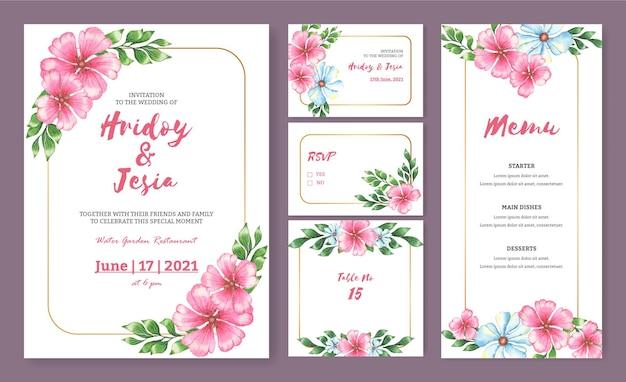 Cartão de convite de casamento vintage com flores e folhas