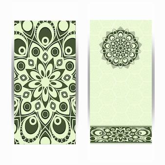 Cartão de convite de casamento vintage com padrão de mandala, mandala floral e ornamentos. design oriental. asiático, árabe, indiano