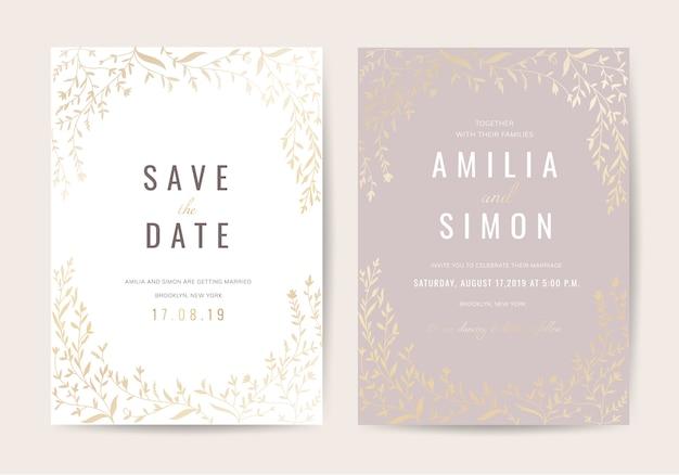 Cartão de convite de casamento vintage de luxo com decoração floral