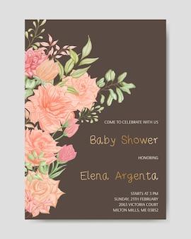 Cartão de convite de chá de bebê com flor em aquarela