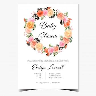 Cartão de convite de chuveiro de bebê com guirlanda floral