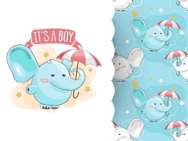 Cartão de convite de chuveiro de bebê e padrão