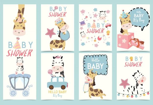 Cartão de convite de chuveiro de bebê fofo
