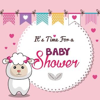 Cartão de convite de chuveiro de bebê rosa com desing de ovelhas