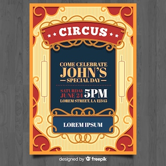 Cartão de convite de circo