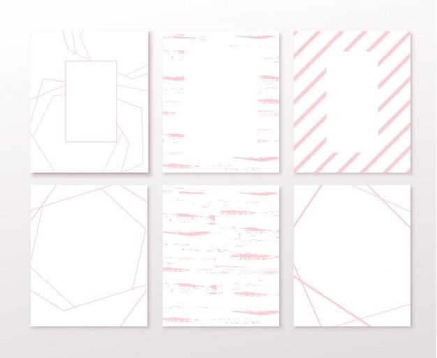 Cartão de convite de cor rosa casamento com padrões geométricos. convite de luxo