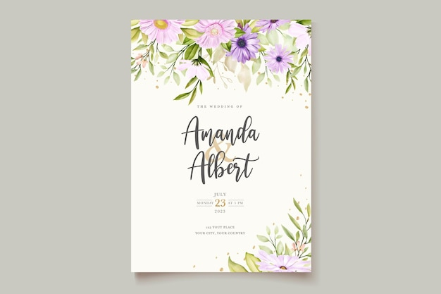 Cartão de convite de crisântemo aquarela