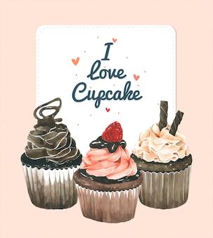 Cartão de convite de cupcake
