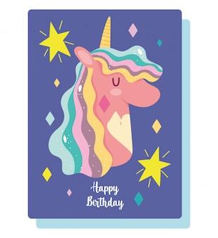 Cartão de convite de desenho animado de unicórnio de feliz aniversário com estrelas decoração de arco-íris
