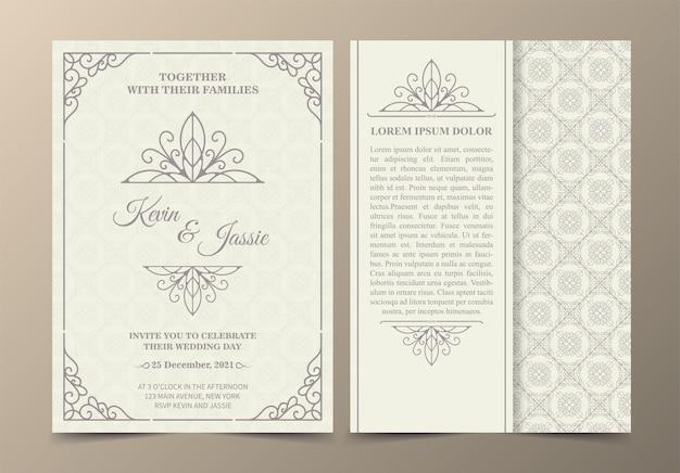 Cartão de convite de desenho de vetor de estilo vintage