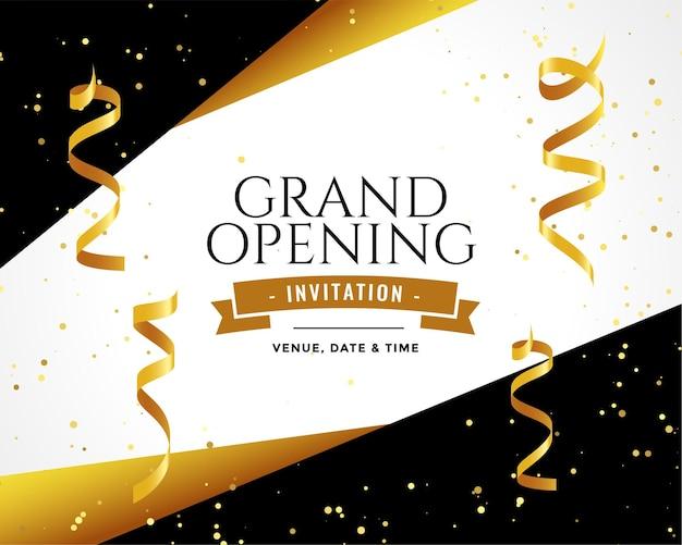 Cartão de convite de design gran dopening em cores douradas