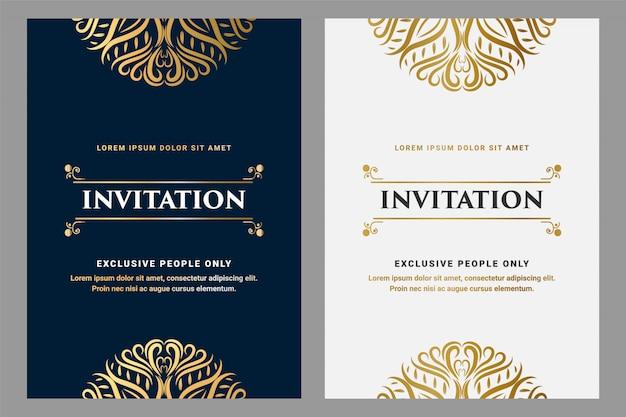 Cartão de convite de estilo real de ornamento vintage de luxo com moldura para modelo de dourado e preto de aniversário de convite de festa de casamento