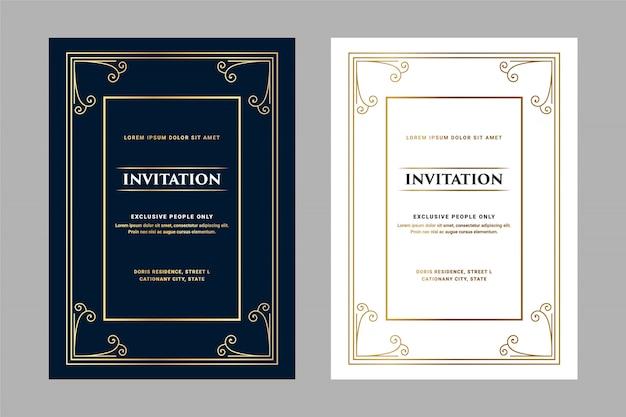 Cartão de convite de estilo retro antigo real de luxo escuro e branco para festa de aniversário de entrada vip passar aniversário de casamento e celebração