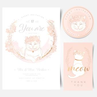 Cartão de convite de evento com logotipo de gato branco fofo