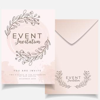 Cartão de convite de evento feminino elegante conjunto rústico