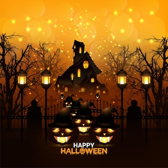 Cartão de convite de feliz dia das bruxas com fundo de terror