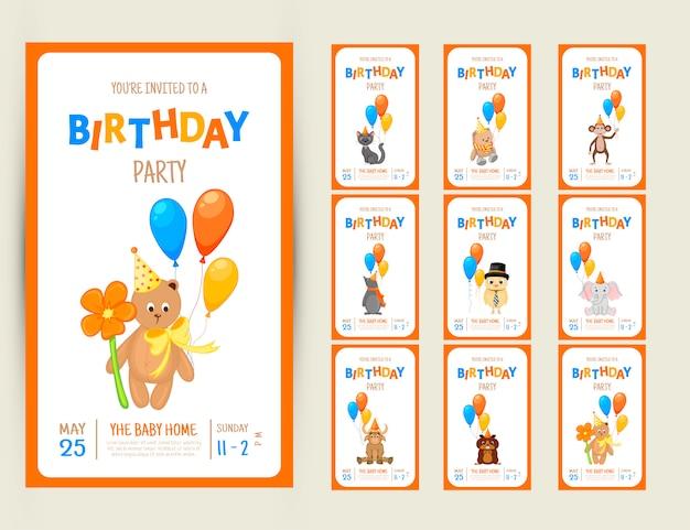 Cartão de convite de festa colorido com animais fofos em um fundo branco