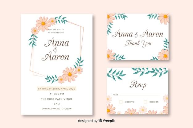 Cartão de convite de festa com design floral