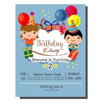 Cartão de convite de festa de aniversário bonito dos desenhos animados 2 com criança fofa