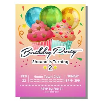 Cartão de convite de festa de aniversário com doce fatia bolinho e star pattern balão