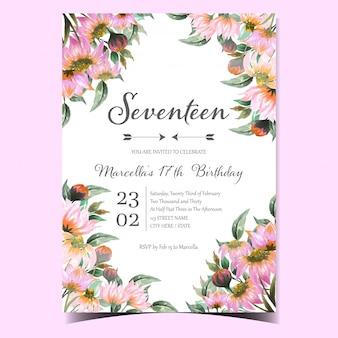 Cartão de convite de festa de aniversário com linda margarida rosa