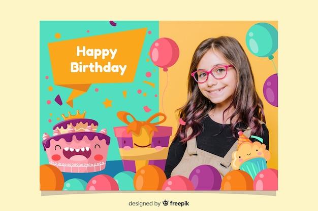 Cartão de convite de festa de aniversário de bebê menina