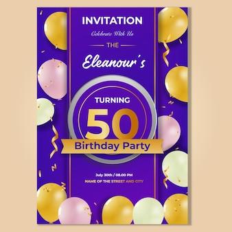 Cartão de convite de festa de aniversário