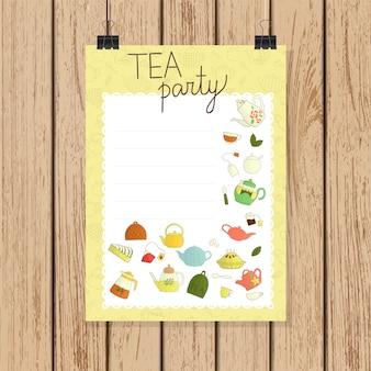 Cartão de convite de festa de chá no estilo doodle. ilustração em vetor bules