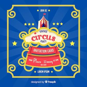 Cartão de convite de festa de circo vintage