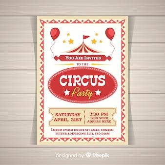 Cartão de convite de festa de circo