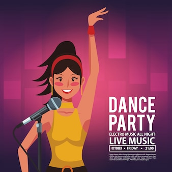 Cartão de convite de festa de dança com artista de discoteca cantando