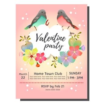Cartão de convite de festa de dia dos namorados com casal de pássaros