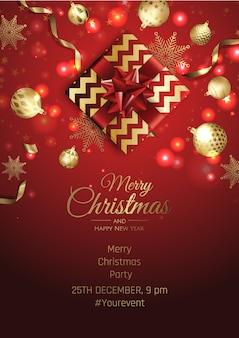Cartão de convite de festa de feliz natal