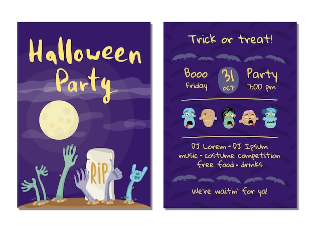 Cartão de convite de festa de halloween com mãos de zumbis