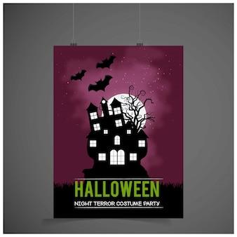 Cartão de convite de festa de halloween com vetor de fundo escuro