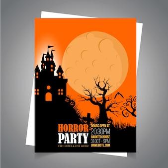 Cartão de convite de festa de halloween com vetor design criativo