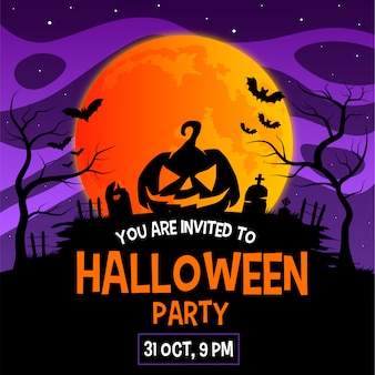 Cartão de convite de festa de halloween ou modelo de cartaz